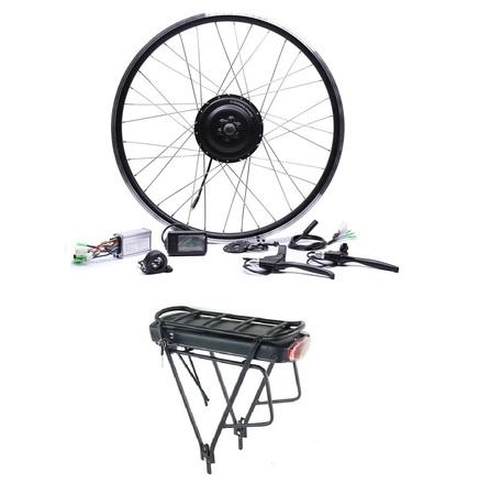 Elektryczny silnik zestaw do roweru 250W 36V Przód + bateria z bagażnikiem 378Wh