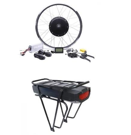 Elektryczny silnik zestaw do roweru 2kW 48V Tył wolnobieg kompletne koło + bateria 17,5Ah na bagażnik