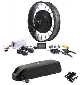 Elektryczny silnik zestaw do roweru Fatbike 2kW 48V Tył wolnobieg kompletne koło + bateria 17,5Ah