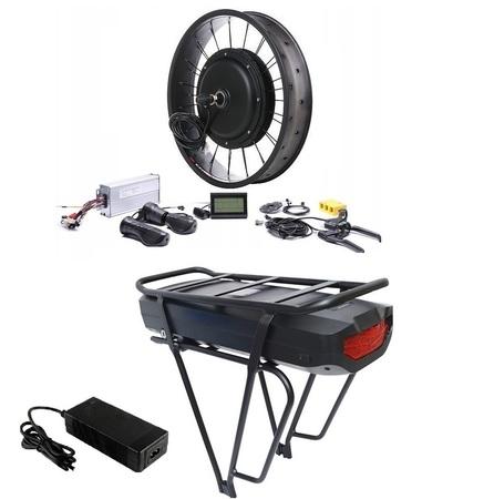 Elektryczny silnik zestaw do roweru Fatbike 2kW 48V Tył wolnobieg kompletne koło + bateria 17,5Ah na bagażnik