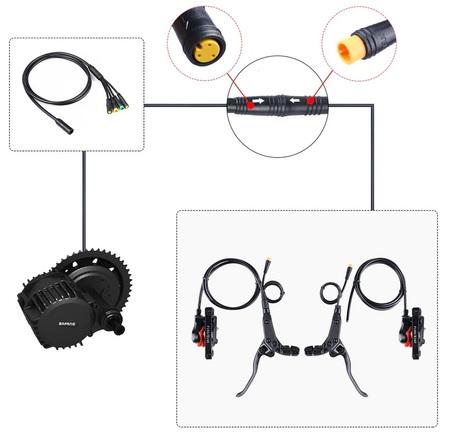 Hamulce hydrauliczne do roweru elektrycznego z wbudowanymi czujnikami hamowania Bafang 8fub BBS